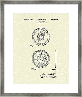 Lucky Piece 1937 Patent Art Framed Print
