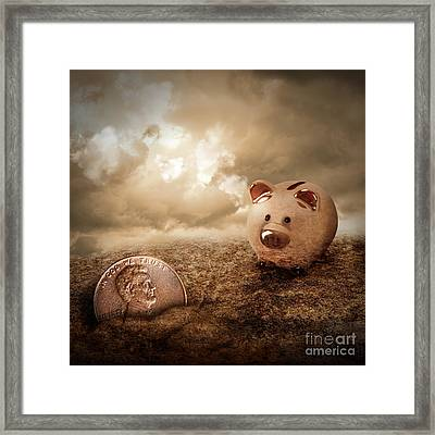 Lucky Piggy Bank Finds Lost Penny In Dirt Framed Print by Angela Waye