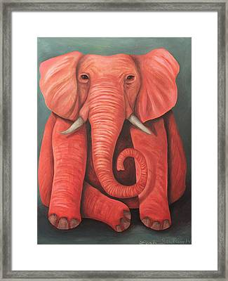Lucky Pink Elephant Framed Print by Leah Saulnier The Painting Maniac