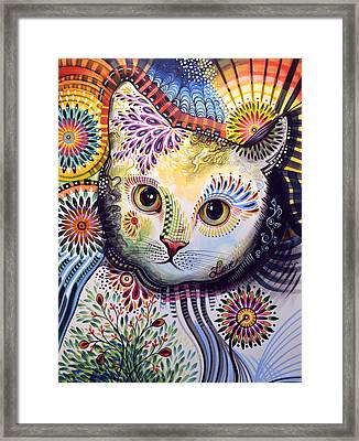 Lucy ... Abstract Cat Art Framed Print by Amy Giacomelli