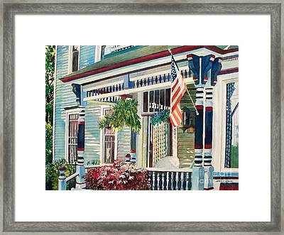 Framed Print featuring the painting Ludington House B And B by LeAnne Sowa