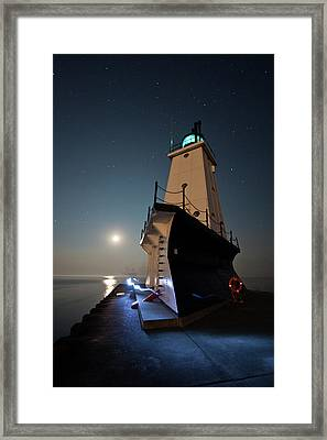 Ludington North Breakwater Lighthouse Framed Print by Adam Romanowicz
