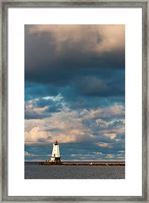 Ludington North Breakwater Lighthouse At Sunrise Framed Print by Sebastian Musial