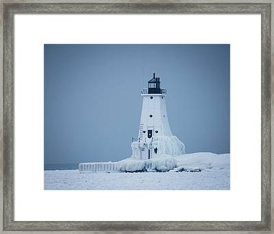 Ludington North Pier Lighthouse In Winter Framed Print