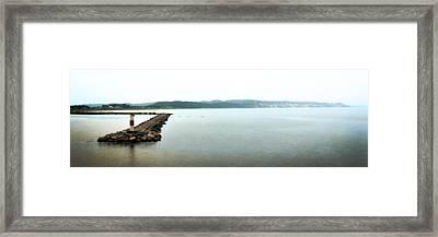 Ludington South Breakwater Framed Print by Michelle Calkins