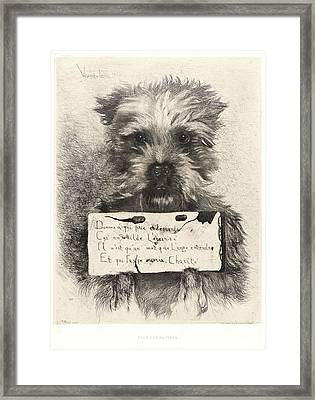Ludovic Lepic French, 1839 - 1889. Pour Les Pauvres Framed Print by Litz Collection