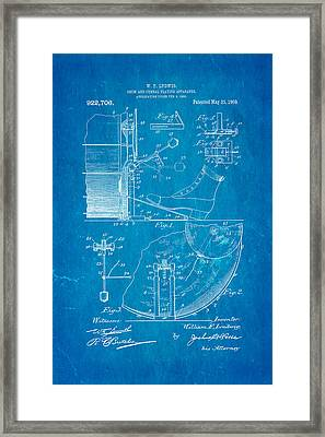 Ludwig Drum And Cymbal Apparatus Patent Art 1909 Blueprint Framed Print by Ian Monk