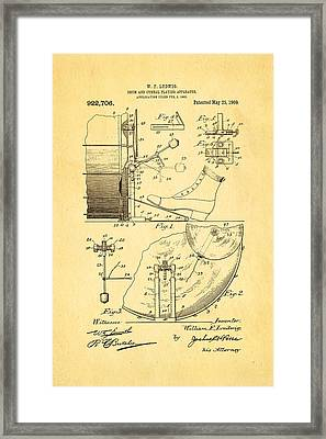 Ludwig Drum And Cymbal Apparatus Patent Art 1909 Framed Print