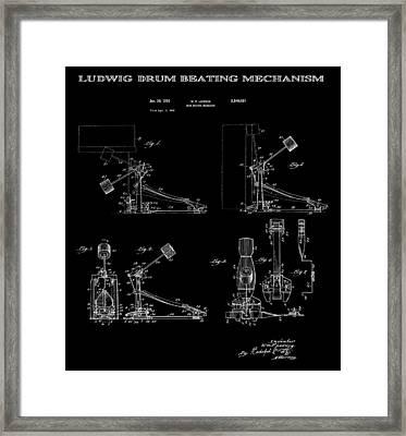Ludwig Drum Pedal 4 Patent Art 1951 Framed Print by Daniel Hagerman
