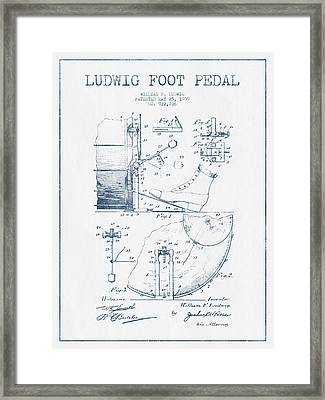 Ludwig Foot Pedal Patent Drawing From 1909 - Blue Ink Framed Print