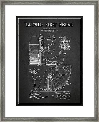 Ludwig Foot Pedal Patent Drawing From 1909 - Dark Framed Print