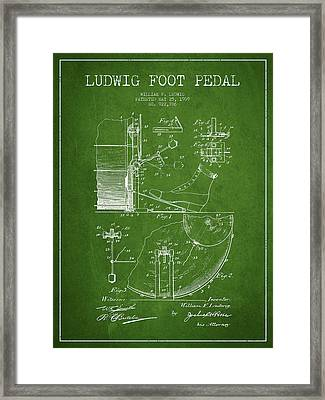 Ludwig Foot Pedal Patent Drawing From 1909 - Green Framed Print by Aged Pixel