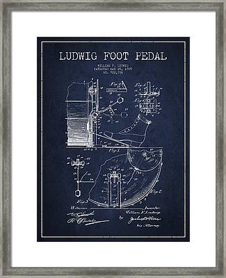 Ludwig Foot Pedal Patent Drawing From 1909 - Navy Blue Framed Print