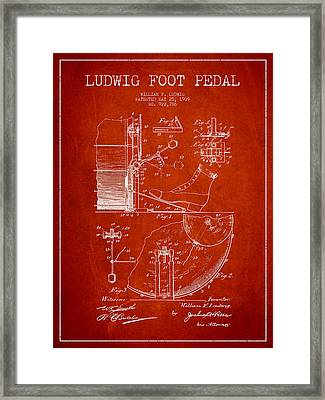 Ludwig Foot Pedal Patent Drawing From 1909 - Red Framed Print