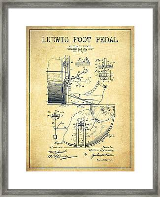 Ludwig Foot Pedal Patent Drawing From 1909 - Vintage Framed Print