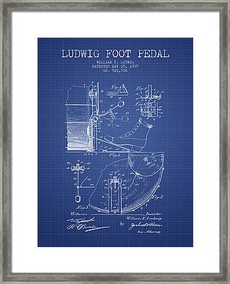 Ludwig Foot Pedal Patent From 1909 - Blueprint Framed Print by Aged Pixel