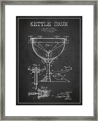 Ludwig Kettle Drum Drum Patent Drawing From 1941 - Dark Framed Print