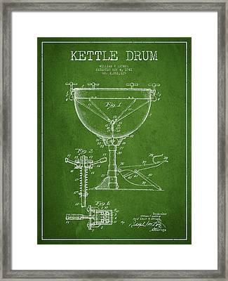 Ludwig Kettle Drum Drum Patent Drawing From 1941 - Green Framed Print