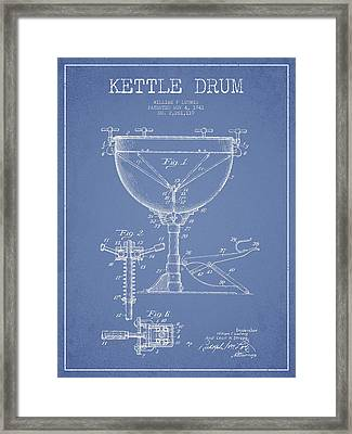 Ludwig Kettle Drum Drum Patent Drawing From 1941 - Light Blue Framed Print