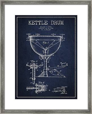 Ludwig Kettle Drum Drum Patent Drawing From 1941 - Navy Blue Framed Print