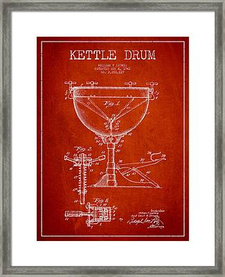 Ludwig Kettle Drum Drum Patent Drawing From 1941 - Red Framed Print