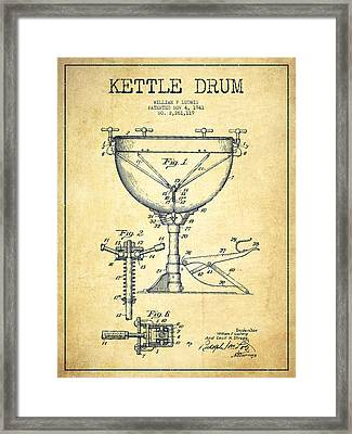 Ludwig Kettle Drum Drum Patent Drawing From 1941 - Vintage Framed Print