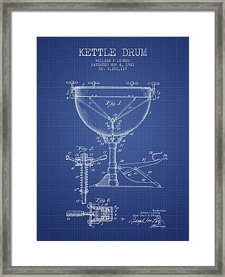 Ludwig Kettle Drum Drum Patent From 1941 - Blueprint Framed Print by Aged Pixel