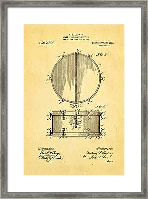 Ludwig Snare Drum Patent Art 1912 Framed Print by Ian Monk