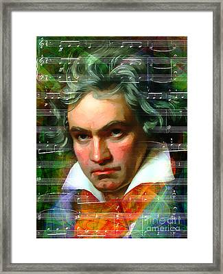 Ludwig Van Beethoven 20140122v2 Dark Framed Print by Wingsdomain Art and Photography