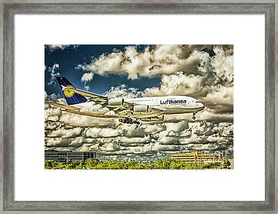Lost In The Clouds Lufthansa A380 Named Hamburg-colorized Abstract Framed Print