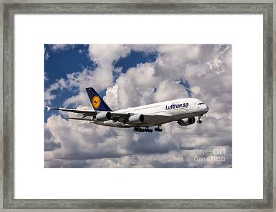 Lufthansa A380 Hamburg Framed Print