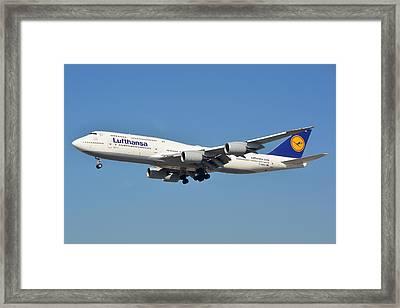 Lufthansa Boeing 747-830 D-abyk Lax January 19 2015 Framed Print by Brian Lockett