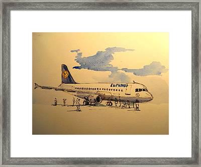 Lufthansa Plane Framed Print by Juan  Bosco