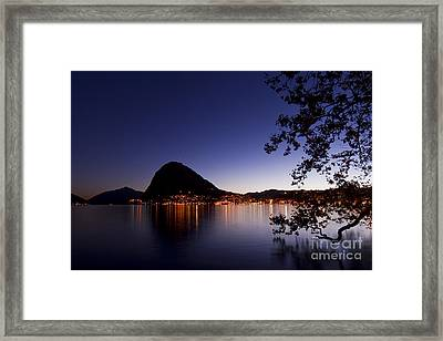 Lugano By Night Framed Print by Maurizio Bacciarini