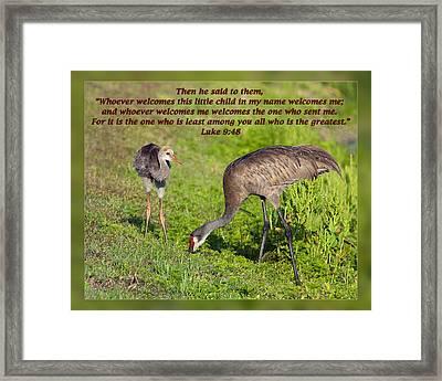 Luke 9 48 Framed Print by Dawn Currie