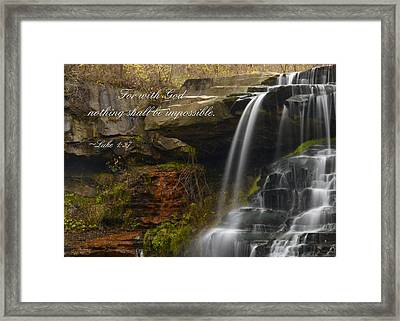 Luke Scripture Waterfall Framed Print by Ann Bridges