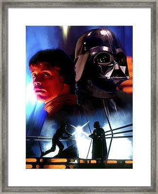 Luke Skywalker Vs Darth Vader Framed Print by Paul Tagliamonte