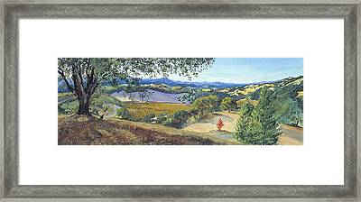 Framed Print featuring the painting Lula Cat Under The Oak Tree In Autumn by Asha Carolyn Young