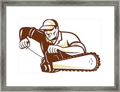 Lumberjack Tree Surgeon Arborist Chainsaw Framed Print by Aloysius Patrimonio