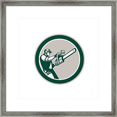 Lumberjack Tree Trimmer Arborist Chainsaw Circle Framed Print