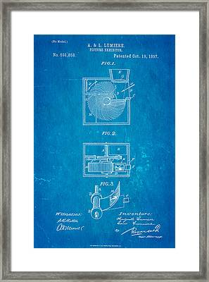 Lumiere Projector Patent Art 1897 Blueprint Framed Print by Ian Monk