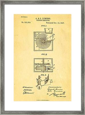 Lumiere Projector Patent Art 1897 Framed Print by Ian Monk