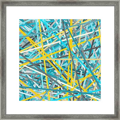 Luminous Attachment - Yellow And Turquoise Abstract Framed Print by Lourry Legarde