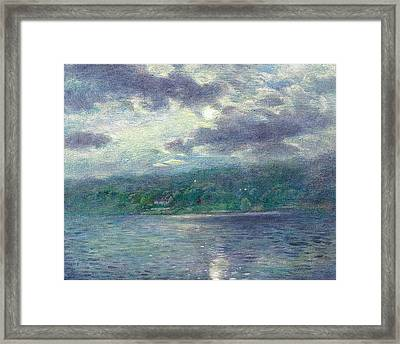 Luminous Moon Over Lake Framed Print