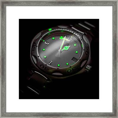 Luminous Watch Hands Framed Print