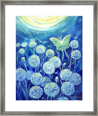 Luna Moth In Moonlight With Dandelions Framed Print