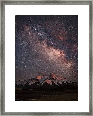 Lunar Alpenglow And Milky Way Skies At West Spanish Peak Framed Print by Mike Berenson