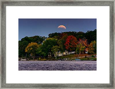 Lunar Eclipse Over Pewaukee Lake Framed Print