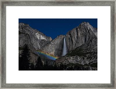 Lunar Moonbow At Yosemite Falls Framed Print