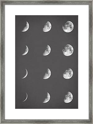 Lunar Phases Framed Print by Taylan Apukovska
